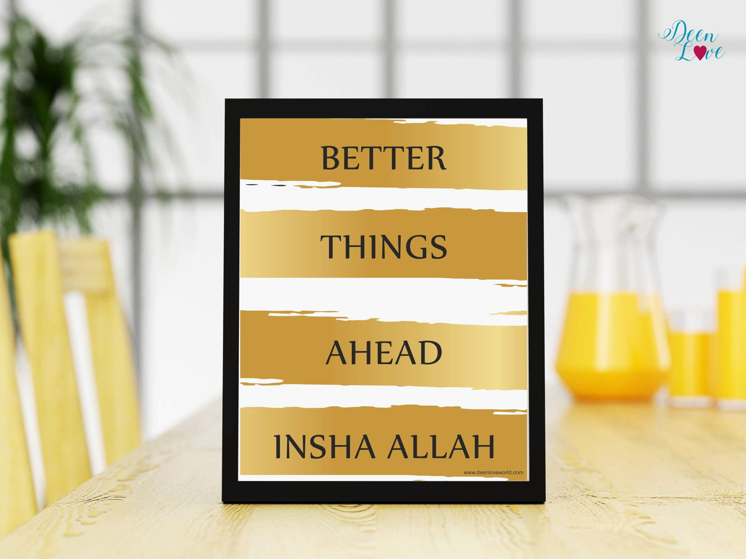 Better Things Ahead Wall Frame (Gold Stripes) - be a better you